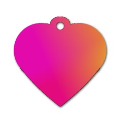 Pink Orange Yellow Ombre  Dog Tag Heart (one Side)