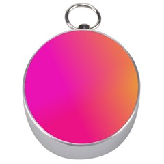 Pink Orange Yellow Ombre  Silver Compasses