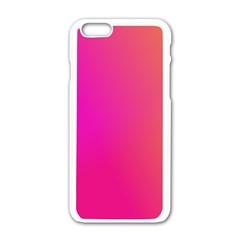 Pink Orange Yellow Ombre  Apple Iphone 6/6s White Enamel Case