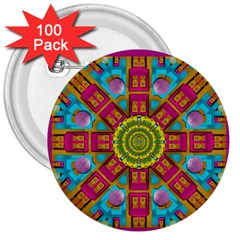 Sunny And Bohemian Sun Shines In Colors 3  Buttons (100 Pack)