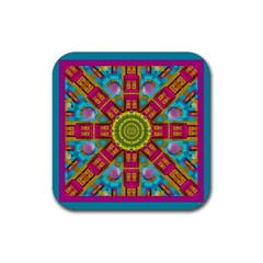 Sunny And Bohemian Sun Shines In Colors Rubber Square Coaster (4 Pack)