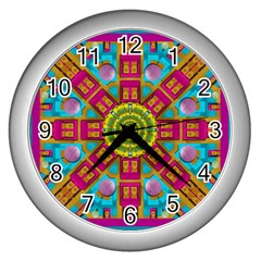 Sunny And Bohemian Sun Shines In Colors Wall Clocks (silver)