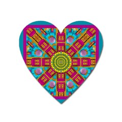 Sunny And Bohemian Sun Shines In Colors Heart Magnet