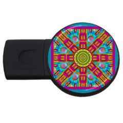 Sunny And Bohemian Sun Shines In Colors Usb Flash Drive Round (4 Gb)