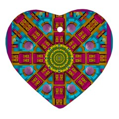 Sunny And Bohemian Sun Shines In Colors Heart Ornament (two Sides)