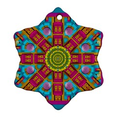 Sunny And Bohemian Sun Shines In Colors Snowflake Ornament (two Sides)