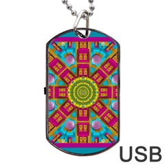 Sunny And Bohemian Sun Shines In Colors Dog Tag Usb Flash (one Side)