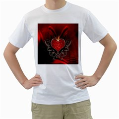 Wonderful Heart With Wings, Decorative Floral Elements Men s T Shirt (white) (two Sided)