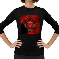 Wonderful Heart With Wings, Decorative Floral Elements Women s Long Sleeve Dark T Shirts