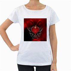 Wonderful Heart With Wings, Decorative Floral Elements Women s Loose Fit T Shirt (white)