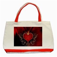 Wonderful Heart With Wings, Decorative Floral Elements Classic Tote Bag (red)