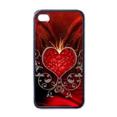 Wonderful Heart With Wings, Decorative Floral Elements Apple Iphone 4 Case (black)