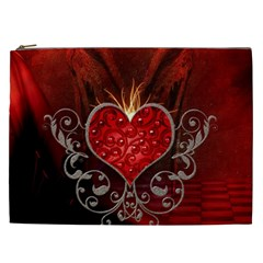Wonderful Heart With Wings, Decorative Floral Elements Cosmetic Bag (xxl)