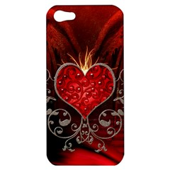 Wonderful Heart With Wings, Decorative Floral Elements Apple Iphone 5 Hardshell Case