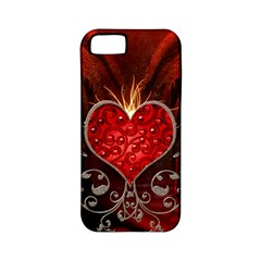 Wonderful Heart With Wings, Decorative Floral Elements Apple Iphone 5 Classic Hardshell Case (pc+silicone)