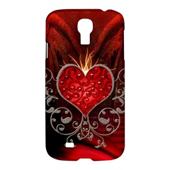 Wonderful Heart With Wings, Decorative Floral Elements Samsung Galaxy S4 I9500/i9505 Hardshell Case