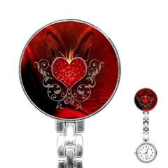 Wonderful Heart With Wings, Decorative Floral Elements Stainless Steel Nurses Watch