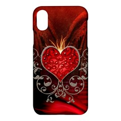 Wonderful Heart With Wings, Decorative Floral Elements Apple Iphone X Hardshell Case