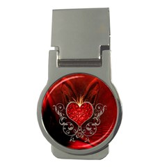 Wonderful Heart With Wings, Decorative Floral Elements Money Clips (round)