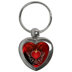 Wonderful Heart With Wings, Decorative Floral Elements Key Chains (heart)