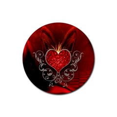 Wonderful Heart With Wings, Decorative Floral Elements Rubber Round Coaster (4 Pack)