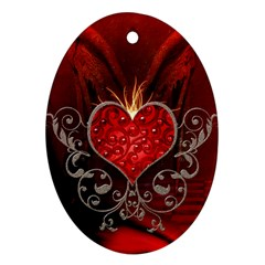 Wonderful Heart With Wings, Decorative Floral Elements Oval Ornament (two Sides)