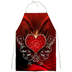 Wonderful Heart With Wings, Decorative Floral Elements Full Print Aprons