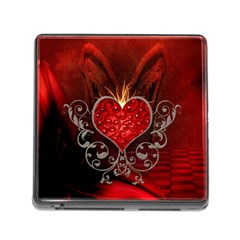 Wonderful Heart With Wings, Decorative Floral Elements Memory Card Reader (square)