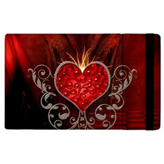 Wonderful Heart With Wings, Decorative Floral Elements Apple Ipad 3/4 Flip Case