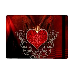 Wonderful Heart With Wings, Decorative Floral Elements Apple Ipad Mini Flip Case