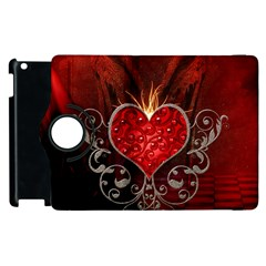 Wonderful Heart With Wings, Decorative Floral Elements Apple Ipad 3/4 Flip 360 Case