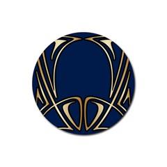 Art Nouveau,vintage,floral,belle ¨|poque,elegant,blue,gold,art Deco,modern,trendy Rubber Round Coaster (4 Pack)