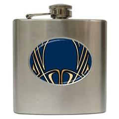 Art Nouveau,vintage,floral,belle ¨|poque,elegant,blue,gold,art Deco,modern,trendy Hip Flask (6 Oz)