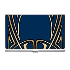 Art Nouveau,vintage,floral,belle ¨ poque,elegant,blue,gold,art Deco,modern,trendy Business Card Holders