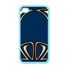 Art Nouveau,vintage,floral,belle ¨|poque,elegant,blue,gold,art Deco,modern,trendy Apple Iphone 4 Case (color)