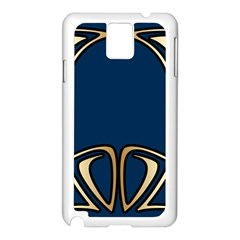 Art Nouveau,vintage,floral,belle ¨|poque,elegant,blue,gold,art Deco,modern,trendy Samsung Galaxy Note 3 N9005 Case (white)
