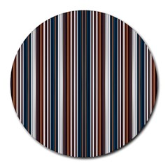 Pear Blossom Teal Orange Brown Coordinating Stripes  Round Mousepads
