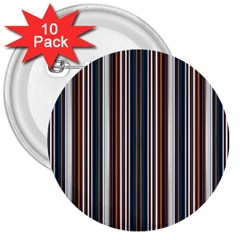 Pear Blossom Teal Orange Brown Coordinating Stripes  3  Buttons (10 Pack)