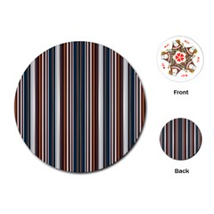 Pear Blossom Teal Orange Brown Coordinating Stripes  Playing Cards (round)