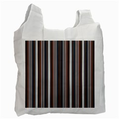 Pear Blossom Teal Orange Brown Coordinating Stripes  Recycle Bag (one Side)