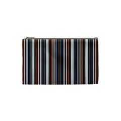 Pear Blossom Teal Orange Brown Coordinating Stripes  Cosmetic Bag (small)