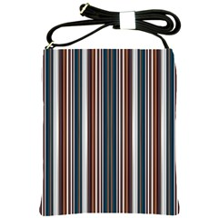 Pear Blossom Teal Orange Brown Coordinating Stripes  Shoulder Sling Bags