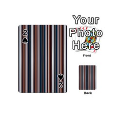 Pear Blossom Teal Orange Brown Coordinating Stripes  Playing Cards 54 (mini)