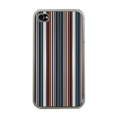 Pear Blossom Teal Orange Brown Coordinating Stripes  Apple Iphone 4 Case (clear)