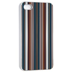 Pear Blossom Teal Orange Brown Coordinating Stripes  Apple Iphone 4/4s Seamless Case (white)