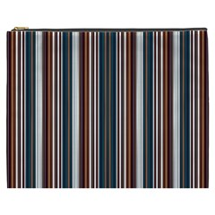 Pear Blossom Teal Orange Brown Coordinating Stripes  Cosmetic Bag (xxxl)