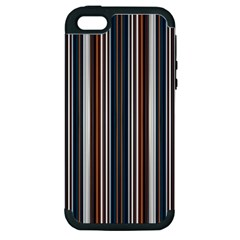 Pear Blossom Teal Orange Brown Coordinating Stripes  Apple Iphone 5 Hardshell Case (pc+silicone)