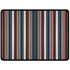 Pear Blossom Teal Orange Brown Coordinating Stripes  Double Sided Fleece Blanket (large)