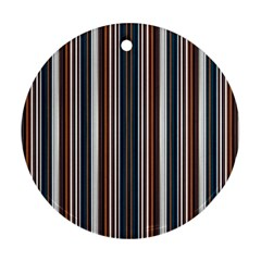 Pear Blossom Teal Orange Brown Coordinating Stripes  Round Ornament (two Sides)