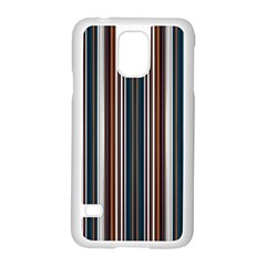 Pear Blossom Teal Orange Brown Coordinating Stripes  Samsung Galaxy S5 Case (white)